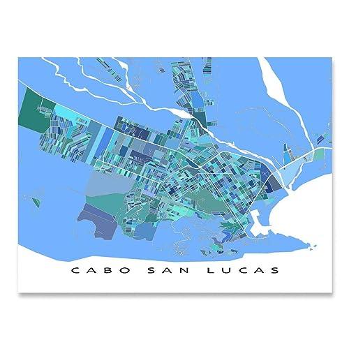 Amazon.com: Cabo San Lucas Map Print, Baja Mexico, City ...
