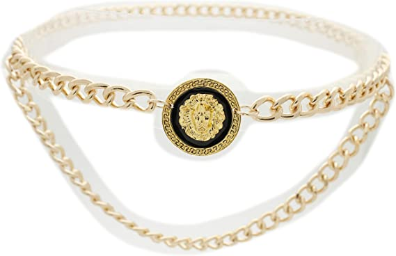Women Hip High Waist Gold Metal Chain Links Skinny Fancy Fashion Waist Belt
