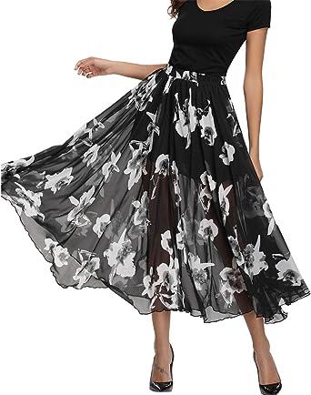Women Elastic Wasist Sheer Chiffon Long Maxi Skirt  2 Layers Summer Beach Dress