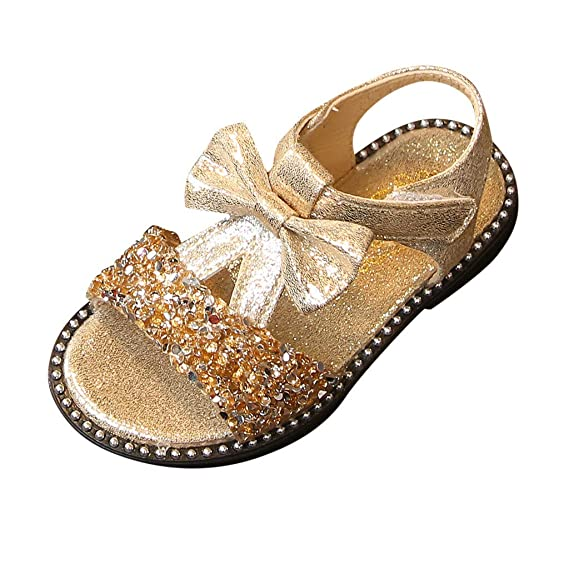 8ed2e0ecf6 Mary Jane Sandals Baby Girls Summer Bling Sequins Ballet Flats Princess  Dress Shoes with Bowknot for Toddler Kids Girls