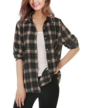 e961562c Mixfeer Womens Casual Button Down Plaid Shirt Long Sleeve Boyfriend Shirt  for Women Plaid Tops with Front Pocket(Size 2-18) at Amazon Women's  Clothing store ...