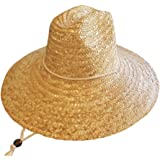 Men's Straw Outback Lifeguard,Beach Surfing,Outdoor Working, Vented Straw Sun Hat w/ 4.5-inch-Wide Brim & Chin Strap
