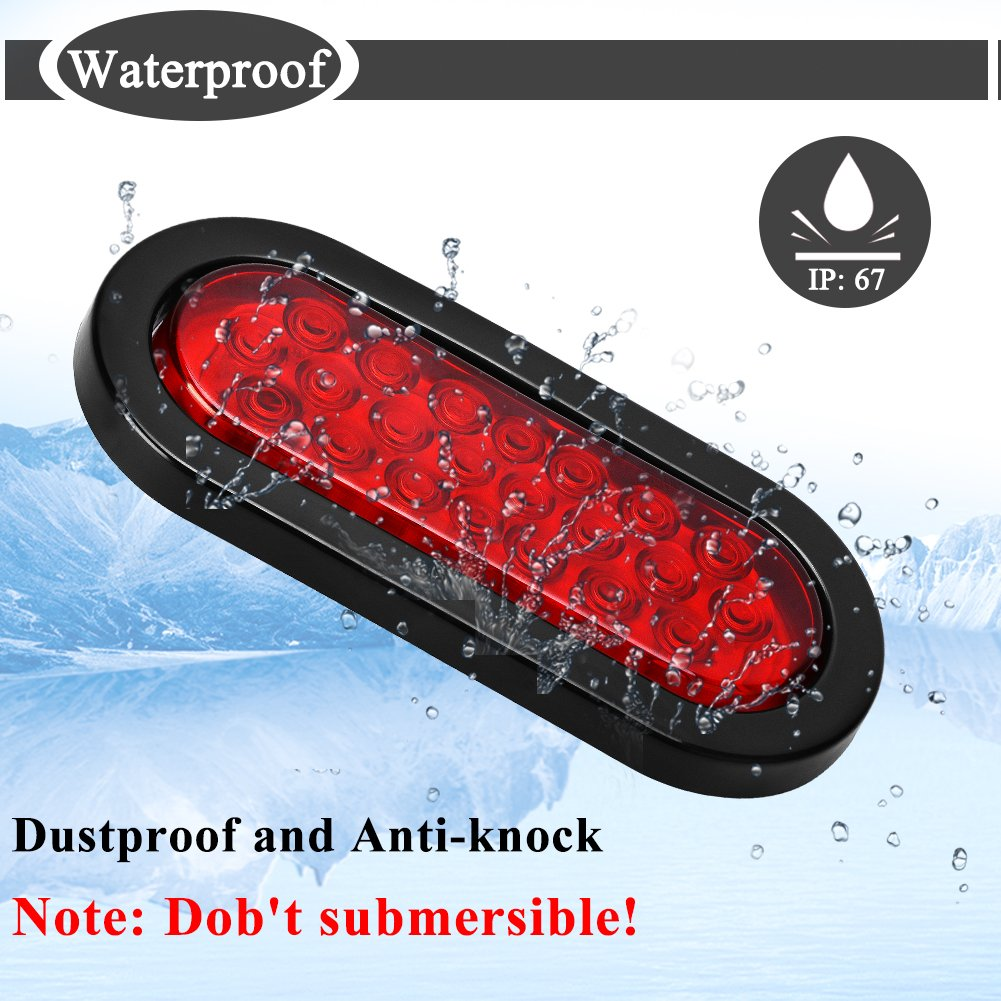 Yitamotor 6 22 Led Oval Red Trailer Lights Rear Also Tail Along With Wiring Waterproof Stop Turn Signal Parking Brake For Boat Truck Rv Pack Of 2
