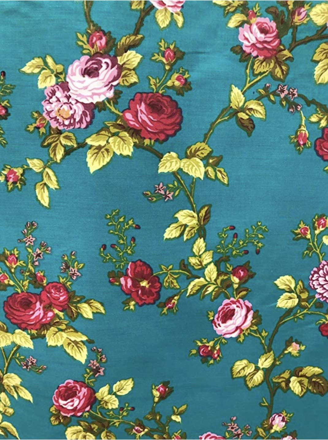 Amazon Com Vintage Floral Print Poly Cotton Fabric By The Yard