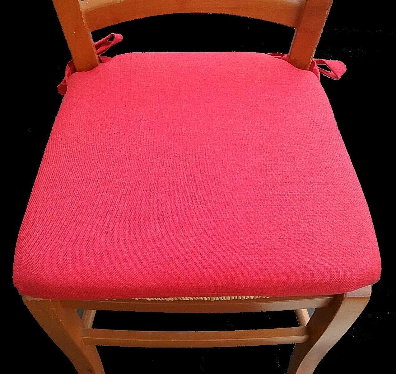 galettes de chaise rouge-Lot de 6-Tissu imperm/éable et anti-taches-avec fermeture /éclair-Mesure cm 40 x 40 x 5