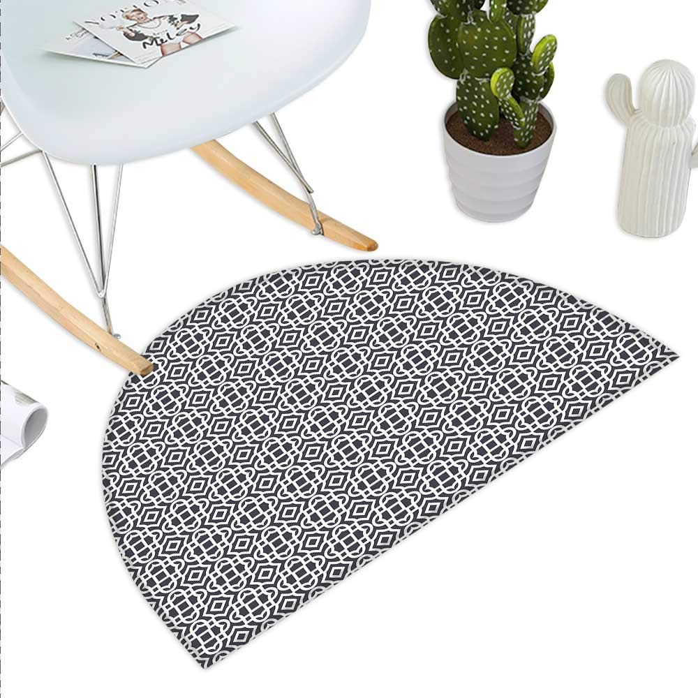 color03 H 31.5  xD 47.2  Geometric Semicircle Doormat Geometrical Shapes Squares Within Squares Abstract Background Soft color Palette Halfmoon doormats H 27.5  xD 41.3  bluee White
