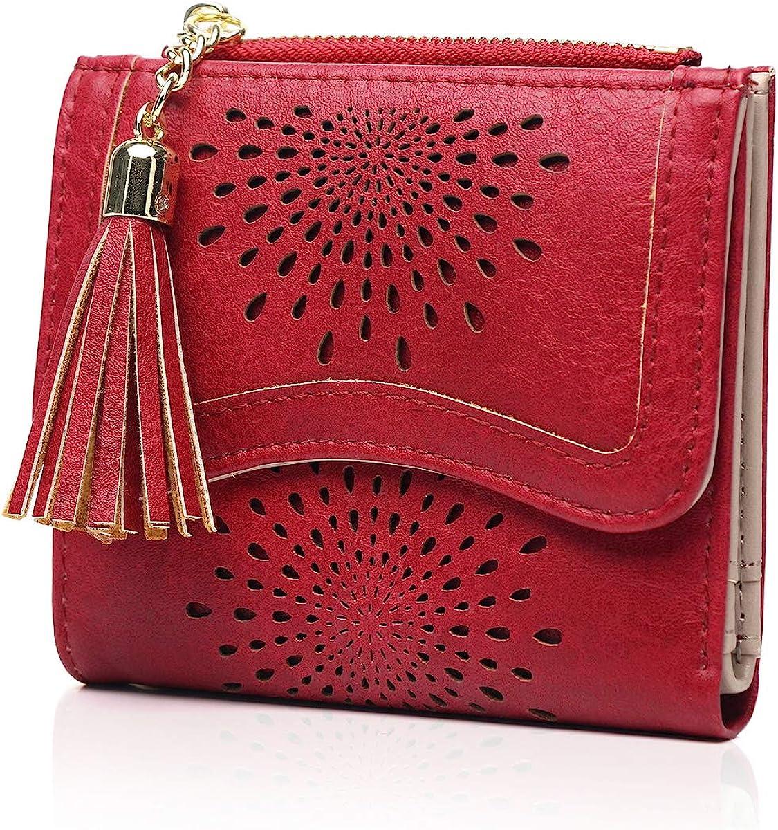 YOVIEE Small RFID Wallet for Women Card Holder Organizer Girls Zipper PU Leather Tassel Pendant Design Coin Purse//Gift Box 24102