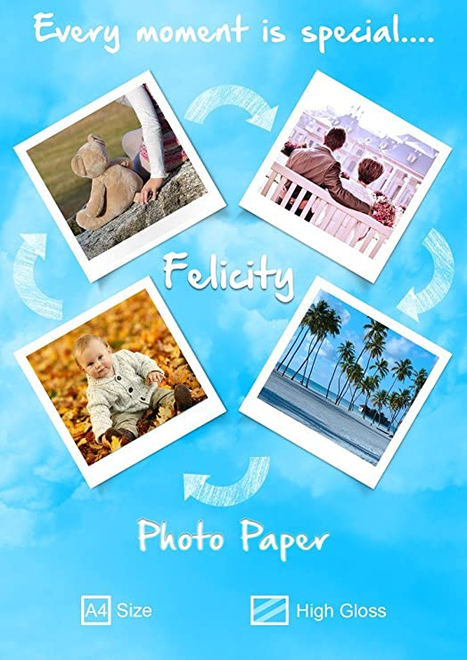 Felicity High Glossy A4 Photo Paper  180 GSM,Pack Of 20  Photo Paper