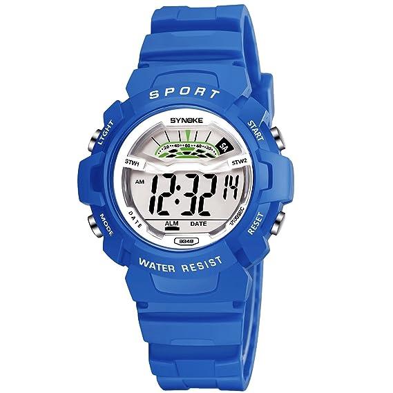 Reloj para niños Deporte al aire libre Eléctrico Digital Impermeable  Relojes para jóvenes adolescentes con alarma Cronómetro Recordato  Amazon.es   Relojes 7308afe04b6c