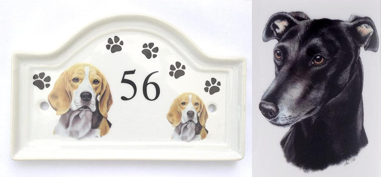 (BB30) House Door Number Plaque plate Ceramic BLACK GREYHOUND Dog Breed Number Sign Any Number Available Hand Decorated in the U.K. Free UK Delivery Any breed- any house number- Dog House Door Plaque Porcelain Outdoor Plaques PAWPRINTS, Kirsty Jayne China