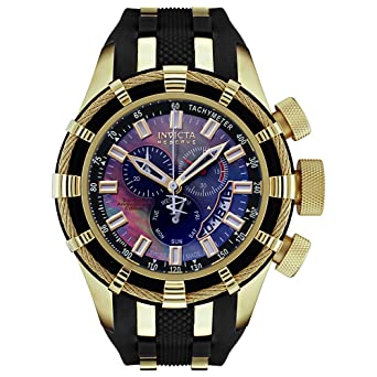 Invicta Men's 6478 Reserve Collection Chronograph 18k Gold-Plated and Black  Rubber Watch