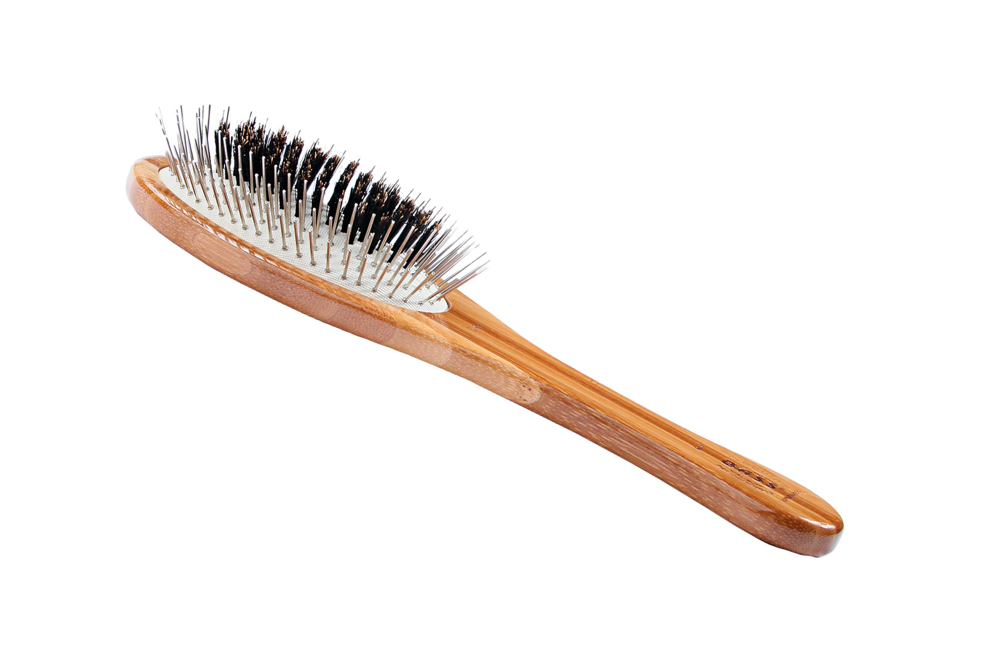 Bass Brushes Medium Oval Wire and Boar Pet Brush with Bamboo Wood Handle
