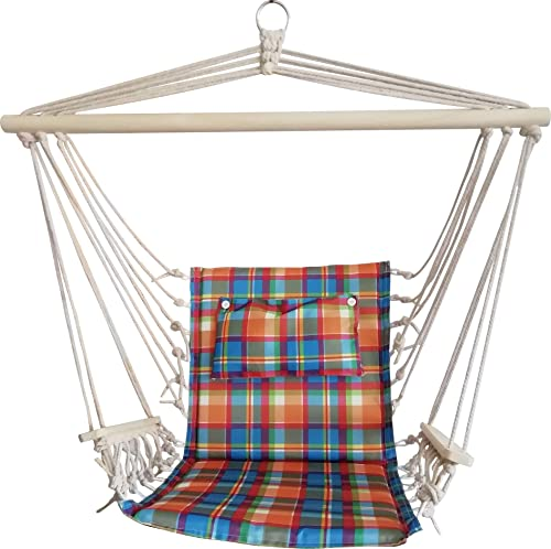 BACKYARD EXPRESSIONS PATIO HOME GARDEN 914988 Swing Bedrooms Hanging Hammock Chair, Plaid