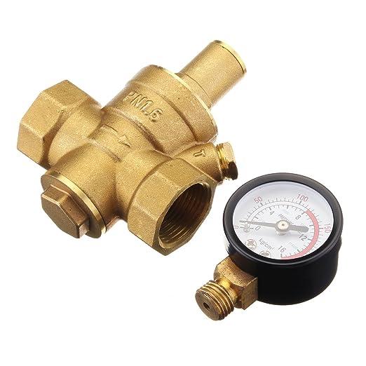 Válvula reductora de presión de agua, Sorliva DN20 ajustable de latón de 0,95 cm, válvula reductora de presión de agua con regulador reductor de calibre: ...