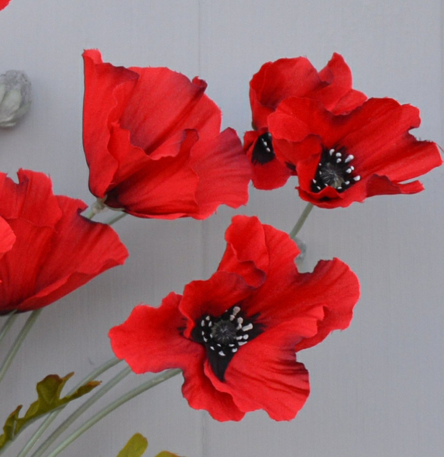 Set Of 2 Artificial Bright Red Poppy Silk Flower Sprays Poppies