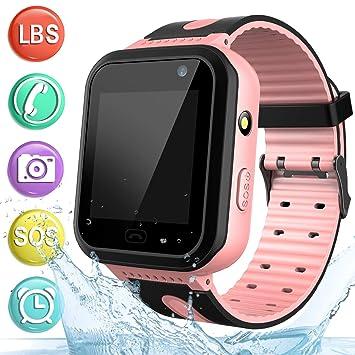 Reloj GPS Tracker Impermeable para Niños - Smartwatch Resistentes al Agua Teléfono con Localizador GPS LBS Juegos de Chat de Voz Cámara para Juegos de ...