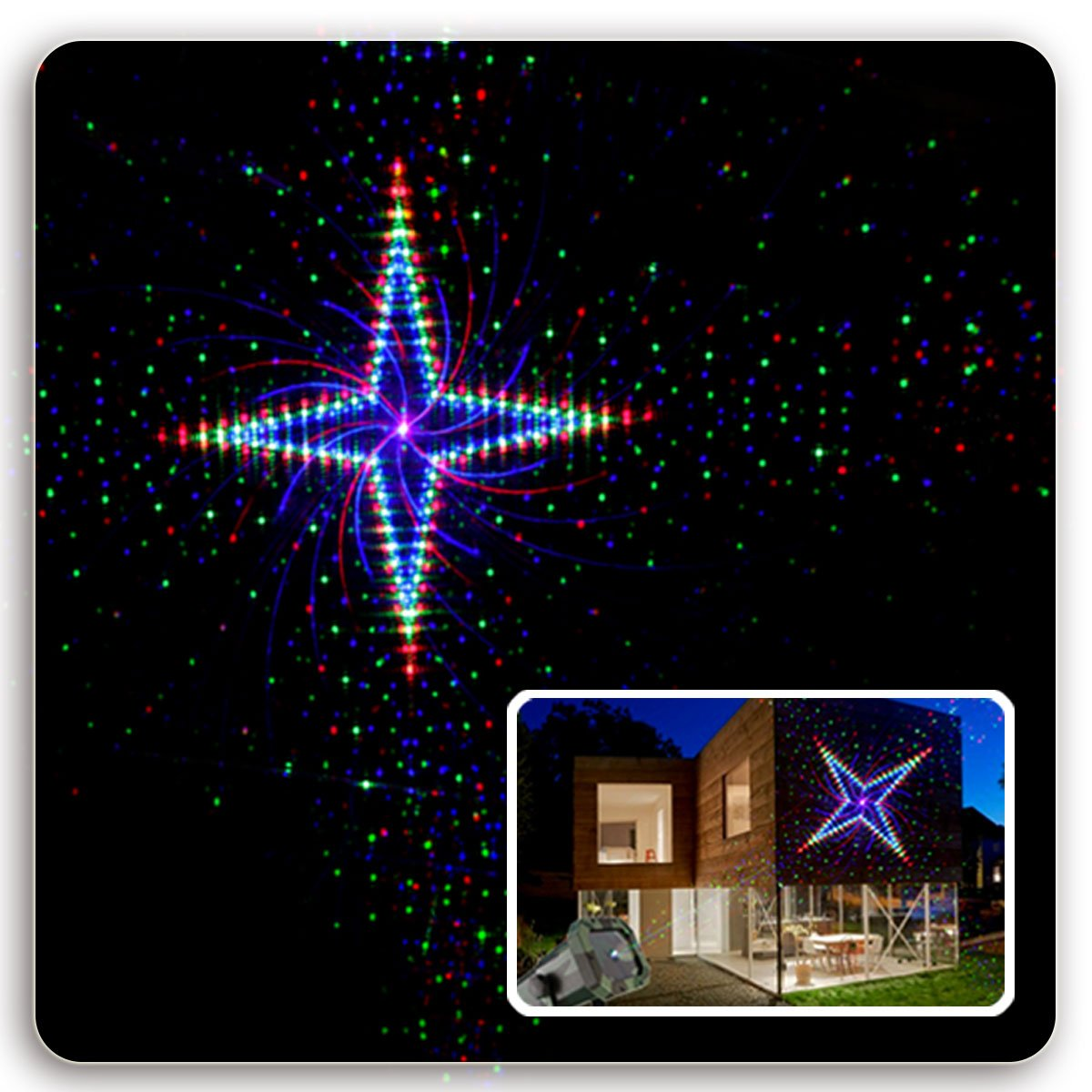 EVA Logik Outdoor Waterproof Laser Projector Light, Moving RGB 20 Patterns, with RF Remote Control & Timer, Perfect for Lawn, Party, Garden Decoration by Eva logik (Image #5)