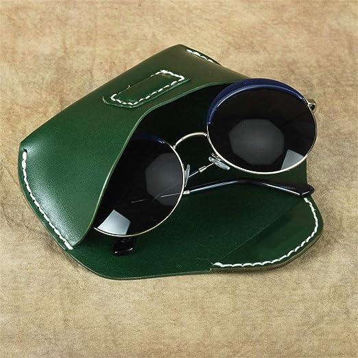 Funda de Gafas Estuche de anteojos de Cuero Estuche for Gafas de Sol Estuche Protector portátil Ligero Se Adapta a la mayoría de Las Gafas y Gafas de Sol de tamaño estándar