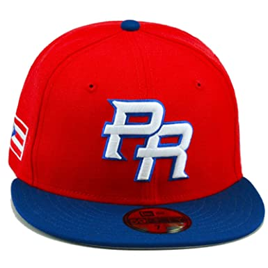 01159b55 New Era 59FIFTY 2013 WBC PR Fitted Hat Cap Red/Royal/Puerto Rico Flag