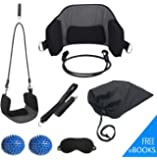 Neck and Head Hammock Cervical Traction Device for Portable Pain Relief - Bundle includes Blindfold and 2 Spiky Massage Balls