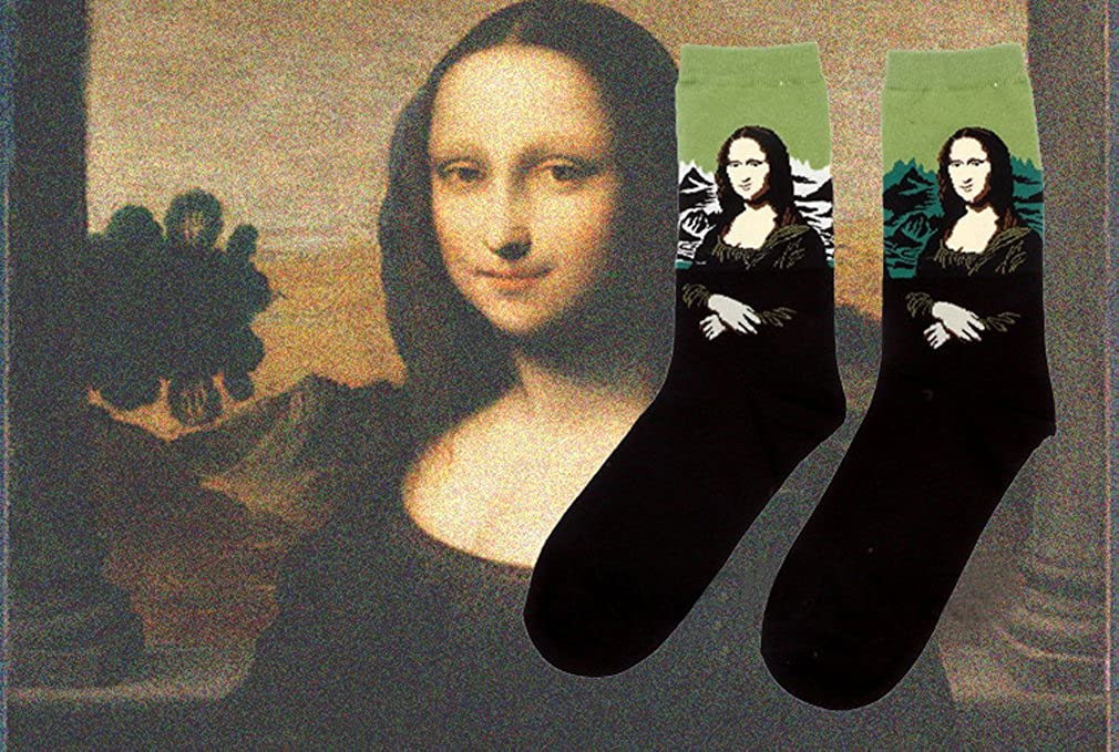 Cansok Mens Art Famous Painting Fun Crazy Novelty Dress Crew Socks (#1 Scream Van Gogh - 5 pairs) at Amazon Mens Clothing store: