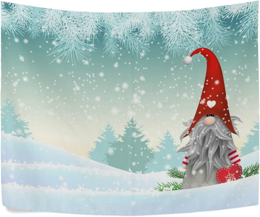 ALAZA Traditional Scandinavian Christmas Elves in Winter Polyester House Tapestries Room D cor 90×60 Inch Style Decorative Wall Blanket