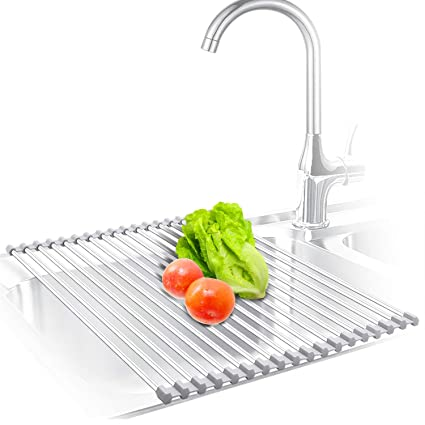 f3efe5d3e619 Amazon.com: KIBEE RACK-2T-18 Dish Drying Rack Stainless Steel Roll Up Over  The Sink Drainer Gadget Tool for Many Kitchen Task(Gray, Large): Kitchen &  Dining