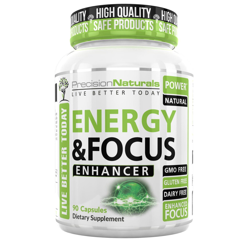 Energy Focus Pills Natural Caffeine Supplement L Theanine Nootropic 90 Capsules Memory Clarity Brain Booster No Crash/Jitters Premium Cognitive Stack Best Mental Performance Formula Men and Women