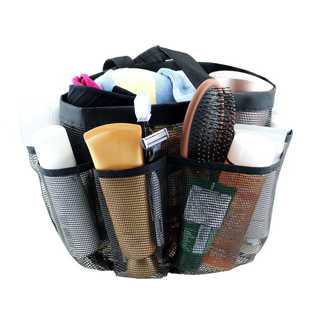 Borsa da doccia a rete 8 tasche di stoccaggio, tote da doccia tote appesa borsa da viaggio toilette Quick Dry impermeabile a prova di umidità per dormitorio viaggio palestra campeggio viaggi nero TWFRIC