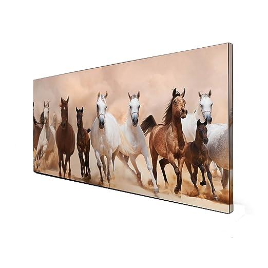 banjado Magnettafel aus Edelstahl Memoboard Pinnwand 50x50cm Wilde Pferde SW