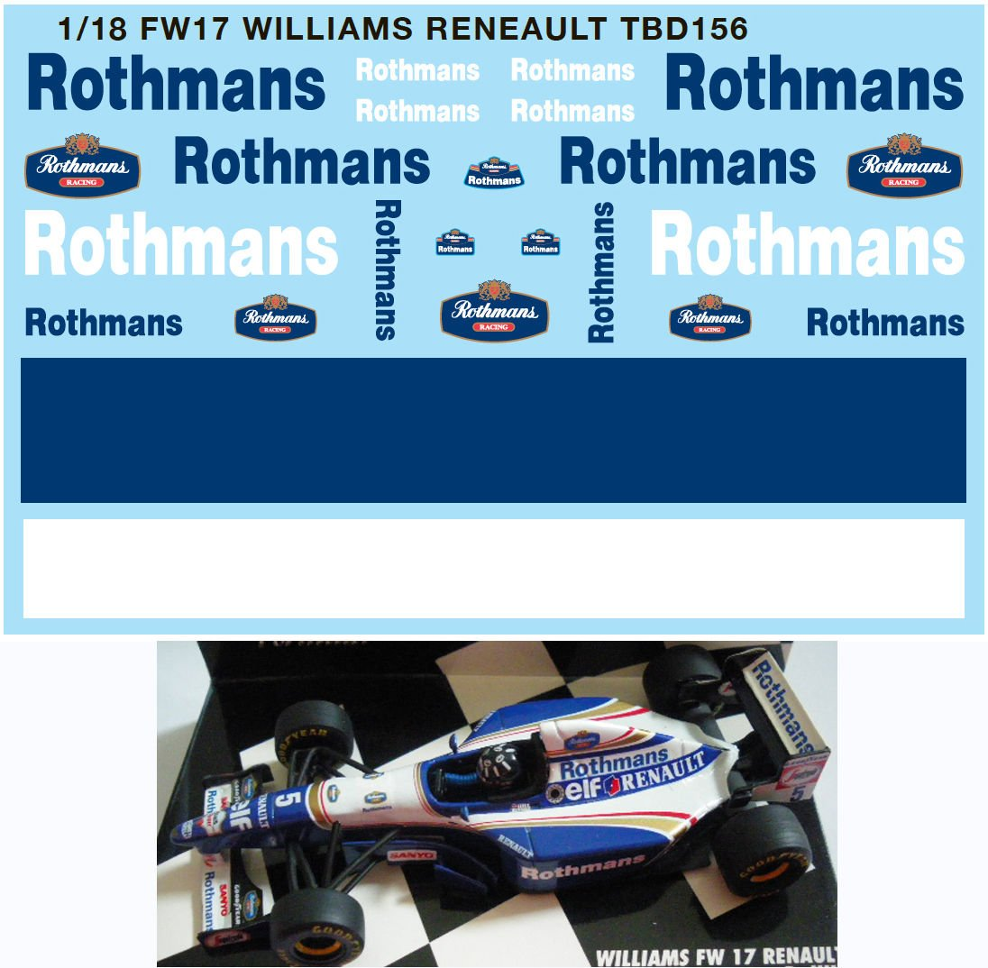 1//18 FW17 WILLIAMS RENAULT DECALS TB DECAL TBD156