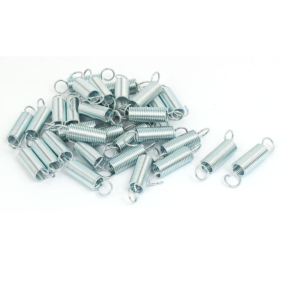 sourcingmap 25mmx10,5mmx1,2mm gancho doble de acero inoxidable muelle tensor tono Plata 33pcs