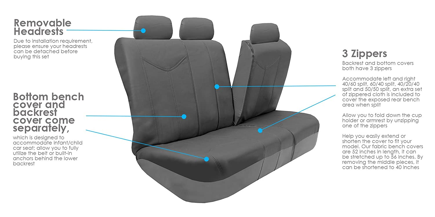 Truck or Van Solid Gray FH GROUP PU009115 Rome PU Leather Full Set Car Seat Covers Suv Airbag compatible and Split Bench Fit Most Car