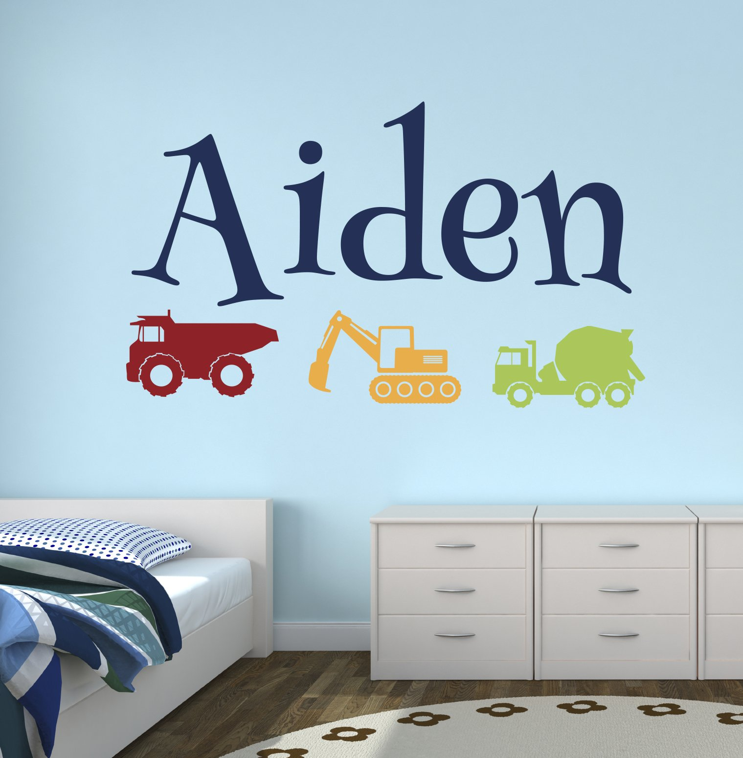 Custom Trucks Boy Name Wall Decal - Construction Wall Decals - Nursery Wall Decals - Trucks Decal - Baby Nursery Decor (40Wx24H) by Lovely Decals World LLC