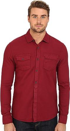 Amazon.com: Mavi Jeans Men's Denim Shirt Burnt Red Button-up Shirt ...