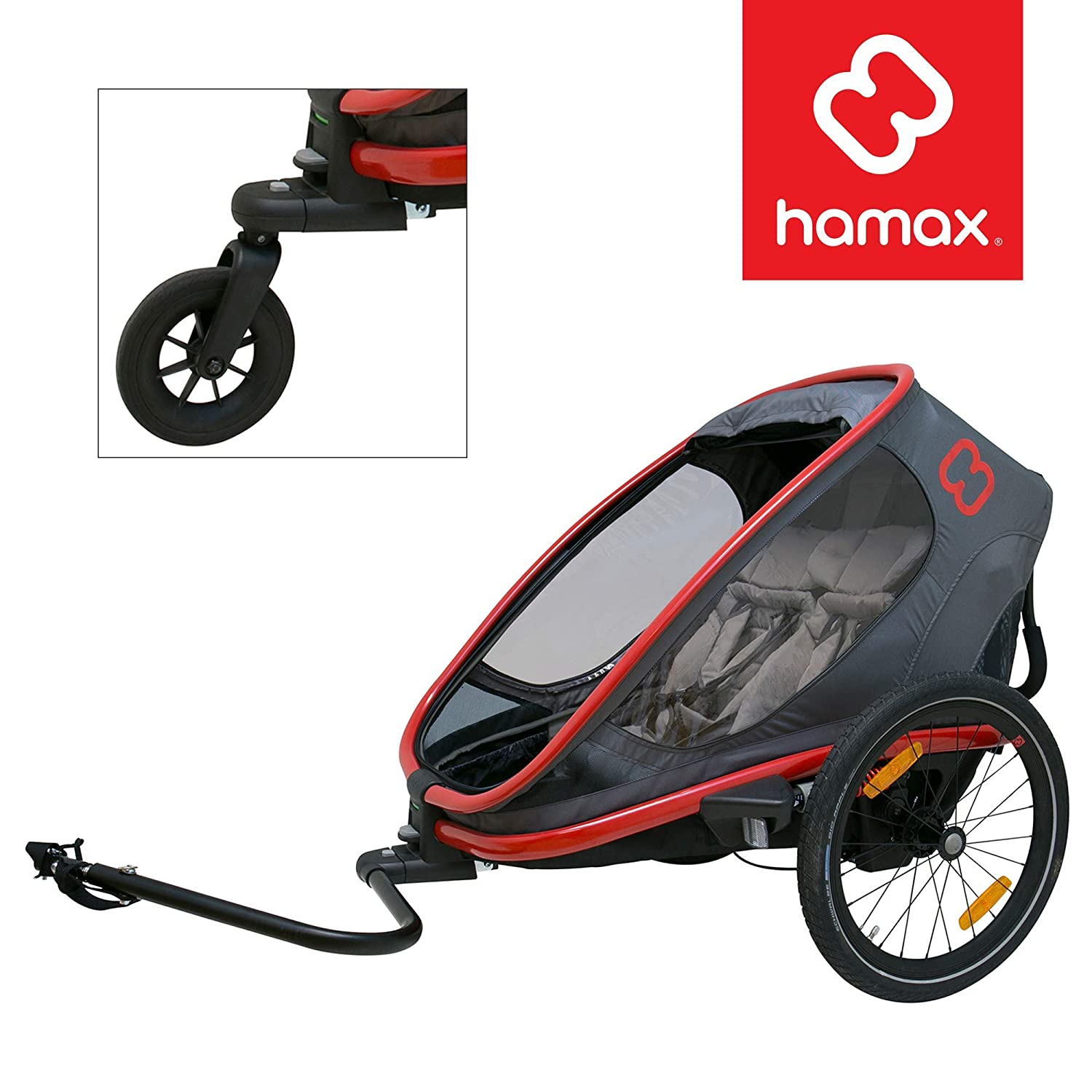 Hamax Outback Multi-Sport Child Bike Trailer Stroller Jogger Wheel Sold Separately Two Seats, Charcoal Red