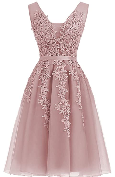 Review Cdress Tulle Short Homecoming Dresses Applique Prom Evening Gowns V-Neck Cocktail Gowns