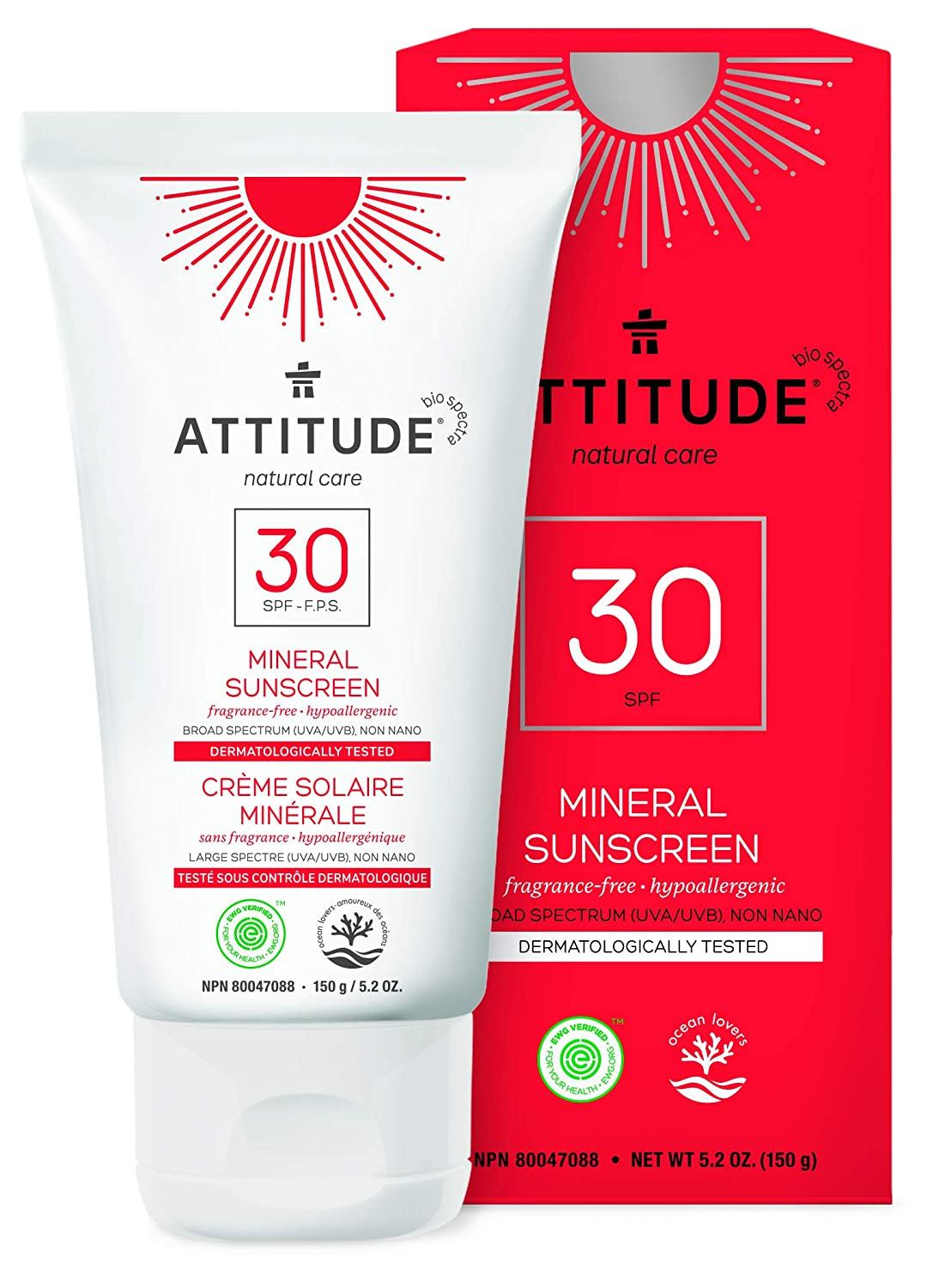 ATTITUDE Natural Care, Hypoallergenic Mineral Sunscreen, SPF 30, Fragrance Free, 5.2 oz