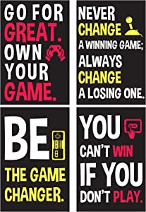 "SCENE: YOURSELF Game Room Decor, Boys Room Decor, Kids Bedroom Decor for Gamers, 11.7"" x 16.5"", Unframed, Paper, Matte Lamination, Set of 4 Gaming Posters, Black, Red, Yellow and White"