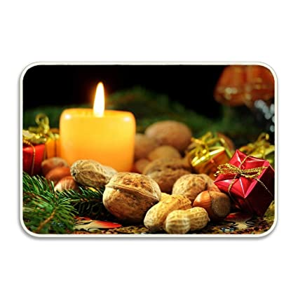 b3b819f02 Amazon.com : Penny McCarthy Holiday Christmas Candle Nut Door Mats Rubber  Shoes Scraper for Front Door Entrance Outside : Garden & Outdoor