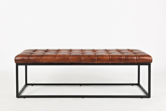 Jofran Leather Ottoman Bench In Saddle Finish by Jofran