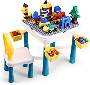 6-in-1 Multi Activity Table, Toddler Table and Chair Set, 66Pcs Large Building Blocks Lego Table with Storage for Toddlers, Desk for Kids, Water/Sand/Building Blocks Table, Early Learning Helper