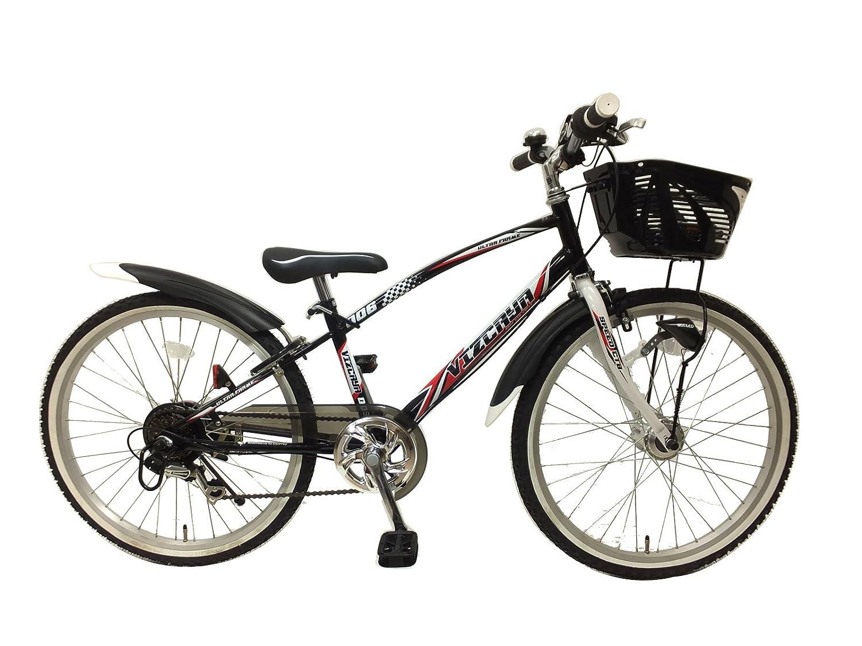 24インチ ビスカイヤー 6段変速 LEDオートライト 組み立て式自転車 B07BWP7YMTブラック