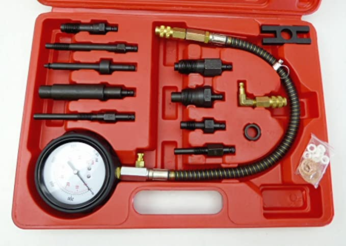 Testeur de compression 17 pi/èces Diesel TDI CDI Testeur de Compression Moteur Testeur de Compression Testeur Manom/ètre Kit pour Voiture Tracteur