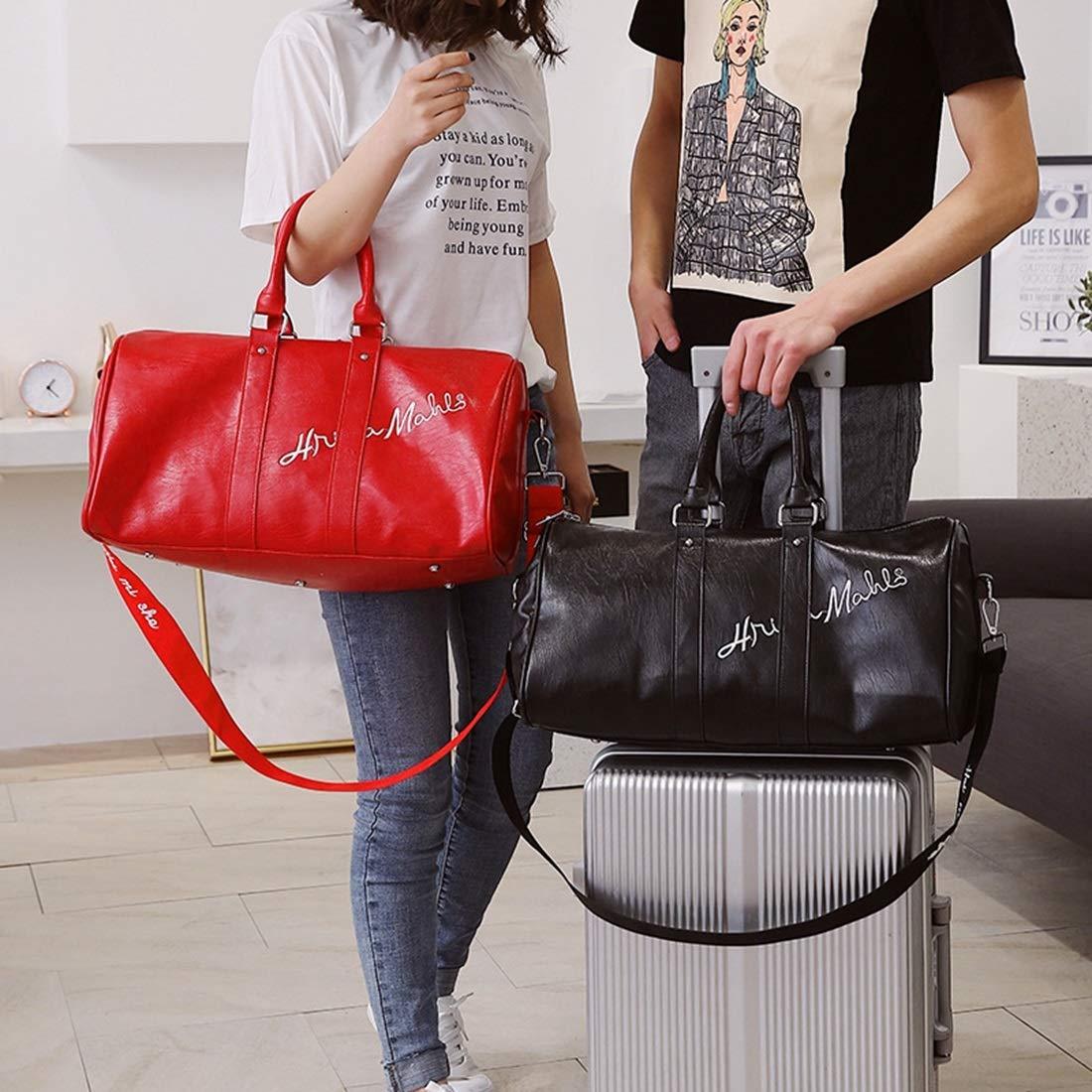 MATCHANT Traveling Short Trip Package Large-Capacity Outdoor Sports Shoulder Bag PU Travel Bag Color : Black