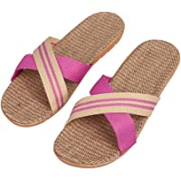 IBLUELOVER Women Homewear Linen Slippers Breathable Odor-Resistant Sandals Beach Shoes