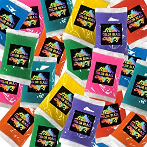 25 Packets of Color Powder by Color Blaze - 75 grams each - Individual Assorted Colors - Perfect for Photoshoots, Holi festivals, backyard activities, birthday parties, color wars