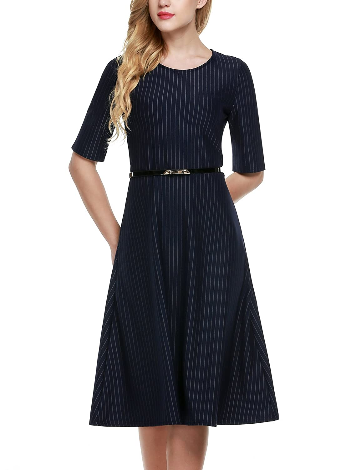 CRAVOG Damen Dress 1/2 Ärmel Sommerkleider Cockteil Abendkleider