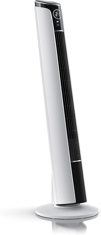 Brandson – Ventilador de Torre con telecomando | inclinable 10° | Ventilador de pie con oscilación | Oscilación 65° | 3 Niveles de Velocidad + 4 Modos de ventilación + Temporizador | Blanco