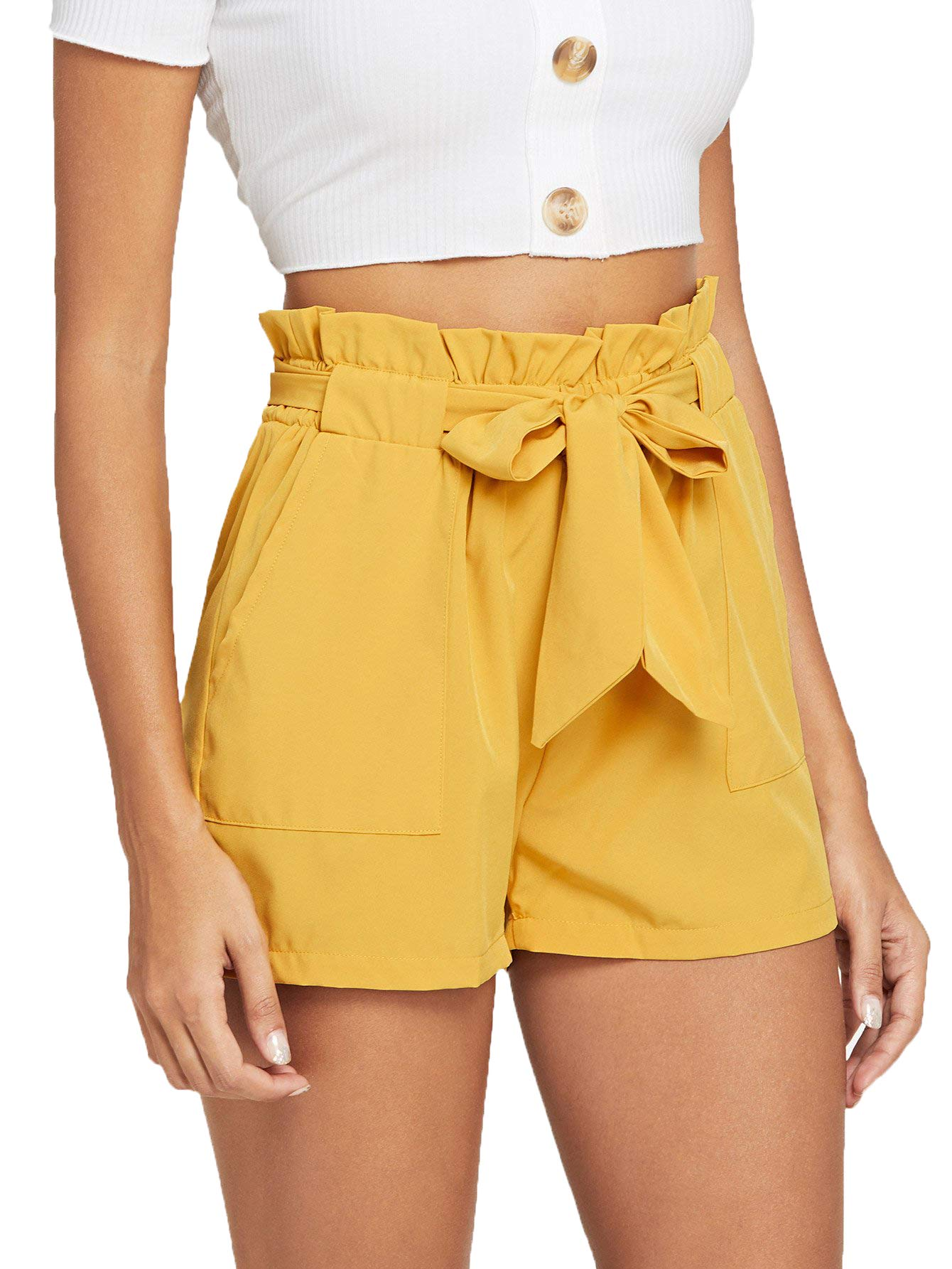 Romwe Women's Casual Elastic Waist Bowknot Summer Shorts with Pockets Yellow S